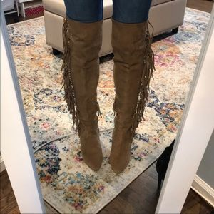 Rebecca Minkoff suede fringe over the knee boots